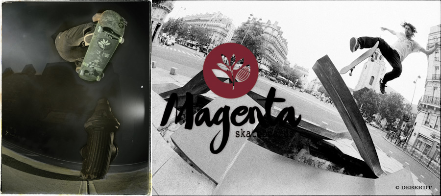 Magenta : Skateboarding around the world in nice suit.